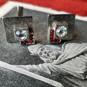 Vintage cufflinks red clear gem silver tone square